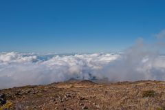 Clouds from above at 3000 meters in Maui Hawai Royalty Free Stock Photography