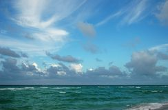 Clouds above the Atlantic. Clouds above the water of the Atlantic ocean, Miami, Florida Stock Images