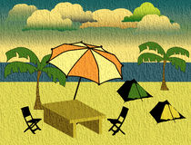 Clouds above the beach. Abstract colored background with beach, palm trees, table, chairs, umbrella and colored clouds Royalty Free Stock Photos