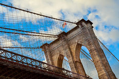 Clouds above Brooklyn Bridge, wide angle view - New York Royalty Free Stock Photos