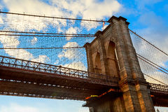 Clouds above Brooklyn Bridge, wide angle view - New York Stock Photos
