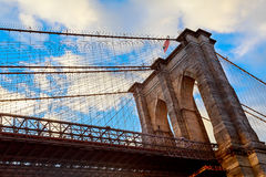 Clouds above Brooklyn Bridge, wide angle view - New York Royalty Free Stock Photo