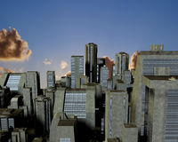 Clouds above city. In 3d royalty free illustration