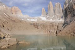 Clouds above the main peaks of Torres del Paine Royalty Free Stock Images