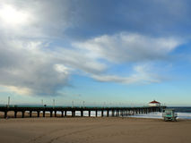 Clouds above the Pier. Beautiful clouds above the Pier in Manhattan Beach, California Stock Photo