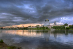 Clouds above the Pskov Kremlin. On a decline. Russia Stock Photo