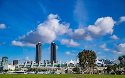 Clouds Above the San Diego Convention Center. Cloudscape accents the San Diego Skyline royalty free stock images