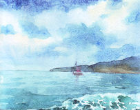 Clouds above the sea. Watercolor illustration stock illustration