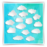 Clouds on the Abstract Blue Triangular Polygonal backgrou Royalty Free Stock Photo