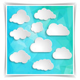 Clouds on the Abstract Blue Triangular Polygonal backgrou Royalty Free Stock Images
