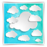 Clouds on the Abstract Blue Triangular Polygonal backgrou Royalty Free Stock Photography