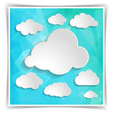Clouds on the Abstract Blue Triangular Polygonal backgrou Royalty Free Stock Photos