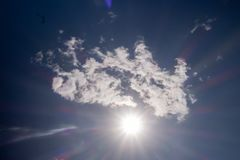 Clouds against the blue sky. Sunshine space bright summer day outdoors light heaven clear high environment color weather season air wind peace spring breeze stock photography