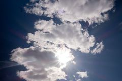 Clouds against the blue sky. Sunshine space bright summer day outdoors light heaven clear high environment color weather season air wind peace spring breeze stock photos