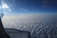 Clouds airplane royalty free stock photo