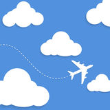 Clouds and airplane Royalty Free Stock Photography