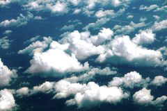 Clouds from airplane wing view Royalty Free Stock Photos