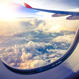 Clouds And Sky As Seen Through Window Of An Aircraft Stock Image
