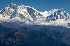 Clouds around Annapurna. West face of Annapurna I and Annapurna South from Jaljala La, Annapurna Himal, Nepal Royalty Free Stock Images