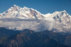 Clouds around Annapurna. West face of Annapurna I and Annapurna South from Jaljala La, Annapurna Himal, Nepal Stock Image