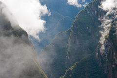 Clouds  around Manchu Picchu. This image shows Clouds in the hills around Manchu Picchu complex in Peru Royalty Free Stock Image