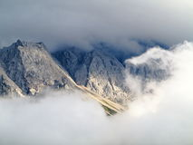 Clouds at mountain massif Zugspitze Stock Image