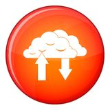 Clouds with arrows icon, flat style Stock Photo