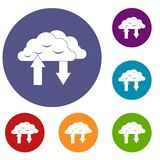 Clouds with arrows icons set. In flat circle reb, blue and green color for web Stock Photos