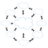 Clouds and arrows Stock Photo