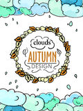 Clouds autumn theme design with title in round leaves decor Royalty Free Stock Photos