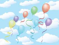 Clouds background with balloons Royalty Free Stock Photo