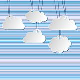 Clouds background. Paper clouds hanging on strings with striped background Stock Photos