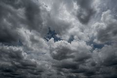 Clouds with background,sunlight through very dark clouds background of dark storm cloud. S,black sky Background of dark clouds before a thunder Royalty Free Stock Photo
