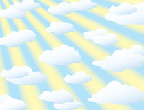 Clouds Background With Sun Rays Stock Images