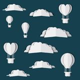 Clouds and balloons air hot Digital Crafts Royalty Free Stock Image