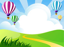 Clouds,balloons. Illustration of landscape with clouds and balloons Royalty Free Stock Photography