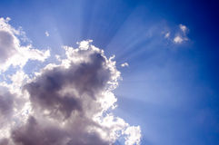 Clouds and beams Royalty Free Stock Photos