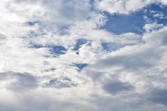 Clouds on the beautiful locality. Background image of a cloud on sky for use in background or text input Stock Image