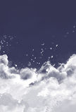 Clouds birds. Drawing of white clouds with birds Stock Photo