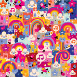 Clouds, birds, rainbows and hearts pattern Stock Image