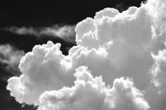 Clouds in black and white stock images
