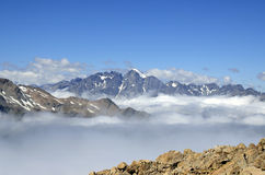 Clouds blanket in Southern Alps, New Zealand. Royalty Free Stock Photos