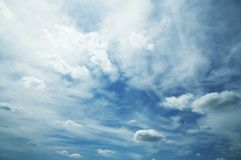 Clouds and blue. Clouds and sky for background stock photography