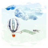 Clouds and blue balloon Stock Photography