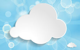 Clouds on a blue festive background. With light beams Royalty Free Stock Photo