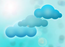 Clouds on blue sky. Abstract illustration with blue clouds on blur sky background Stock Images