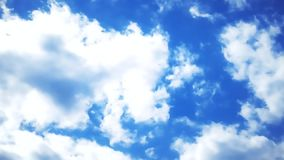 Clouds in the blue sky with airplane trail time lapse background stock video footage