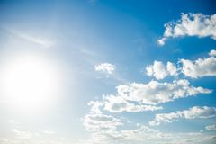 Clouds and blue sky background. Blue sky background with tiny clouds, Clouds and blue sky background, flying plane stock photo