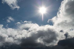 Clouds, blue sky, bright Sun. White clouds with blue sky and bright sun Royalty Free Stock Photos