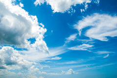 Clouds at Blue Sky. Cloud formations at the sky Royalty Free Stock Image